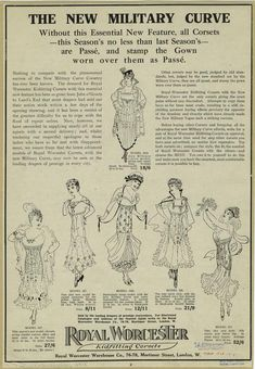 Royal Worcester Kidfitting Corsets - The New Military Curve. 1915.