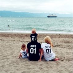 King Queen Princess Prince Family TShirts Mother And Daughter Dad Son Letter T Shirts Family matching outfits 01 Number Tops Tee