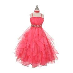 Chic Baby Little Girls Coral Vertical Ruffle Flower Girl Pageant Dress 4, Orange