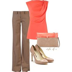 Tan and Coral - cute office attire