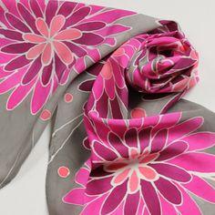 Silk Scarf - Bloom - Hand Painted Ladies Scarves Gray Grey Pink Magenta Salmon Coral Raspberry Flowers Floral