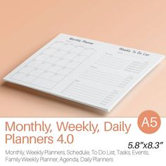 A5 Planner Inserts DAILY WEEKLY MONTHLY von EasyLifePlanners