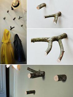 fotos de percheros murales hechos con trozos de ramas de árboles