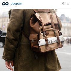 Little by little, we'll spam all GQ shots. Here thanks to @gqspain & @giottocalendoli!!  Leather Survey Evolution Backpack, hazelnut heavy canvas. #leather #canvas #best #talian #raw #materials #gq #press #spain #minimal #nordic #heritage #desgin @kjoreproject