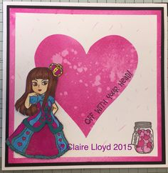 Visible image queen of hearts stamp set distress ink coloured with speccies.