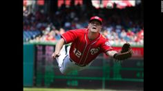 Washington Nationals first baseman Tyler Moore makes a diving catch during a home game against the New York Mets on Sunday, May 18. The Nati...