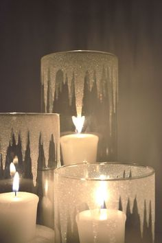Glitter Icicle Candle Holders shared in a roundup post on Candle Making candle holder Glitter Candle Holders, Glitter Candles, Diy Candle Holders, Diy Candles, Diy Glitter Glasses, Glitter Toms, Glitter Glue, Candle Wax, Christmas Candle Decorations