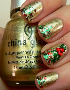 Let them have Polish!: Muffin Monday!! Products Used are China Glaze - Midnight Kiss Gold Nail Polish & Epic - Party Hearty Red, Green, & Gold Glittered Nail Polish and a Stamping Plate for the Holly Design ... Such a Cute Christmas Mani!