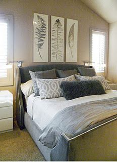 nuetral master bedroom, gray,  white, feather art, fur,  taupe, ivory,  tan  bedroom  Interiordesignminnesota.com https://www.etsy.com/listing/93332289/black-feather-painting