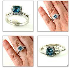 14K Blue Sapphire Diamond Ring