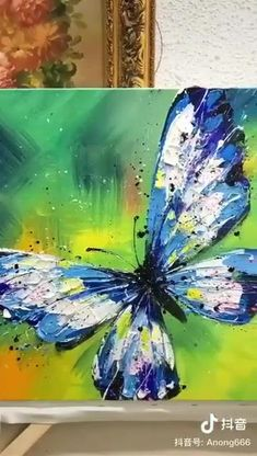 Acrylic Painting Inspiration, Canvas Painting Tutorials, Diy Canvas Art, Acrylic Painting Canvas, Painting Abstract, Painting On Tiles, Pour Painting, Painting Tips, Butterfly Painting