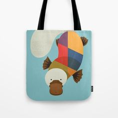 Platypus // Tote Bag // This is part of a Wildlife of Australia series which also includes Koala, Wombat, Emu and Kangaroo // Home Decor, Nursery Decor, Animal Nursery, Kids Room, Australian Art Print, Bag, Pouch, Australian Animal, Australian Wildlife, Australian Animals Nursery, Animal Retro, Mid-century Animal, Animal Illustration, Australian Art, Australian Nursery Decor