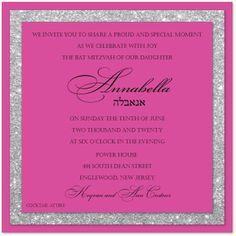 Fuchsia and glitter silver border – Bat Mitzvah Invitation