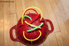 Colander with Pipe Cleaners