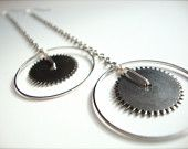 JEWELRY!!  long dangle gears earrings!