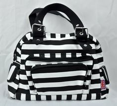 Dysfunctional Doll - Bags Black & White Stripe Canvas Buckle Purse Bag Goth Punk Oi Emo Metal Psychobilly : Purses & Bags