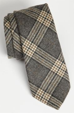 Samuelsohn Woven Wool Tie Grey Regular
