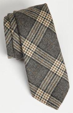 Samuelsohn Woven Wool Tie Grey Regular