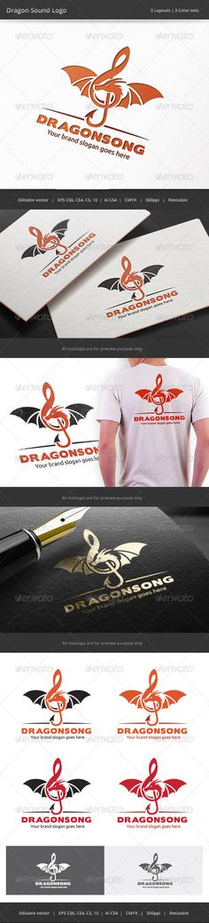 Dragon Sound Logo - Vector Abstract