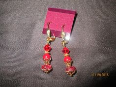 Turbulent Translucent Tourmaline and Red Jade Earrings      E-220