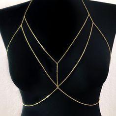 bcfd2f909de32 Double Layer Chain Bralette Body Chain (Gold or Silver)
