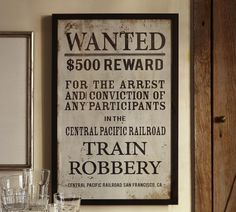 Framed Wanted Poster | Pottery Barn