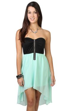 Mint Chiffon Strapless High Low Dress with Zipper Front Bodice - $39.50 at debshops.com
