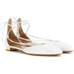 Aquazzura Alexa Flat Patent Leather Lace-Up Ballerinas (1770 QAR) ❤ liked on Polyvore featuring shoes, flats, white, white ballerina flats, aquazzura flats, patent leather flats, patent leather ballet flats and white shoes
