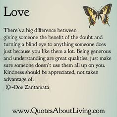 Quotes About Living - Doe Zantamata: Love - Benefit of the doubt
