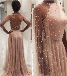 Chic A-line Long Sleeve Prom Dresses Beading Pink Long Evening Dress - Ellise M. Chic A-line Long Sleeve Prom Dresses Beading Pink Long Evening Dress - Prom Dresses Long With Sleeves, Pink Prom Dresses, Wedding Dresses, Beaded Dresses, Evening Dresses For Weddings, Evening Gowns, Dresses Dresses, Dress Prom, A Line Dresses
