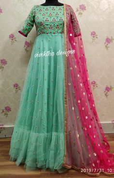 Pink and pastal green long gown by viviktha # ethnic collection # designer frocks Long Gown Dress, Frock Dress, Anarkali Dress, Simple Gown Design, Long Gown Design, Party Wear Indian Dresses, Indian Gowns Dresses, Half Saree Designs, Bridal Blouse Designs