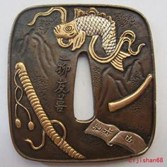 Tsuba Buddha | Tsuba/Fish Exquisite,Copper,Brass,Japanese Samurai Sword