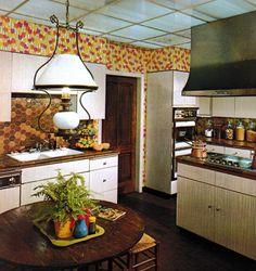 1970s home decor dark walnut wood stairs entryway foyer 70s
