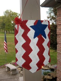 Flag Door Hanger 4th of July by CraftySerendipity on Etsy, $23.00