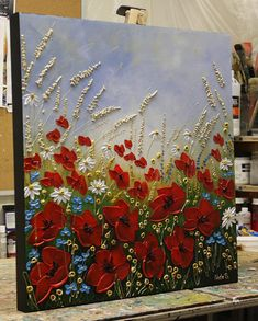 Original Poppy Painting Acrylic Floral Art Wildflower Meadows Contemporary Art Abstract Poppy Art Wildfield Painting Wall Art By Nata Abstract Poppy Painting Acrylic Impasto Art Landscape Daisy Painting, Painting Art, Acrylic Art Paintings, Bathroom Paintings, Knife Painting, Painting Tips, Art Mural, Wall Art, Art Abstrait