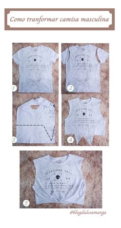 Mode Tutorial and Ideas Umgestaltete Shirts, Diy Cut Shirts, T Shirt Diy, Revamp Clothes, Diy Clothes Refashion, Sewing Clothes, Diy Crop Top, Diy Fashion, Fashion Outfits