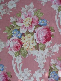 Vintage Barkcloth Era Panel Pink Cabbage Roses French Chic Fabric 35 via Etsy
