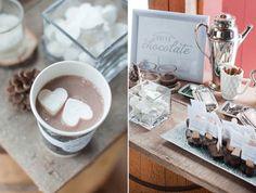 Hot chocolate bar anyone? Courtesy of 100layercake.com and Rachel Peters Photography #weddingideas #weddinginspiration