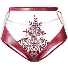 Loveday London Zerena high waisted brief ($160) ❤ liked on Polyvore featuring intimates, panties, red, red leather lingerie, transparent lingerie, floral lingerie, leather lingerie and real leather lingerie
