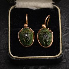 c1880 9k rose gold with scarabs, closed backs 7/8