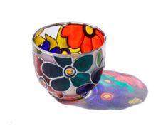 Pintado a mano de sostenedor de vela de cristal vidrio vela titular colorida decoración para el hogar té vela luz arte abstracto floral diseño - arte en vidrio decorativo