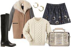 Zara Short Jacquard Skirt, $99.90, available at Zara; Ann Taylor Cody Over The Knee, $248, available at Ann Taylor; Carraig Donn Fisherman's...