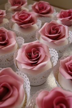 Beautiful pink rose cupcakes in toille cups Pretty Cupcakes, Beautiful Cupcakes, Flower Cupcakes, Fun Cupcakes, Wedding Cupcakes, Cupcake Cakes, Icing Cupcakes, Cupcakes Bonitos, Cupcakes Lindos