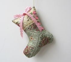 Brocade stocking ornament with brocade ribbon and buttons at xmasmuse.etsy.com