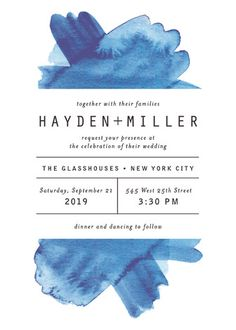 """Modern Water"" - Modern, Hand Drawn Wedding Invitations in Celestial by Olivia Raufman."