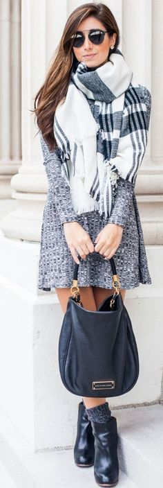 #winter #fashion / gray knit dress + tartan scarf