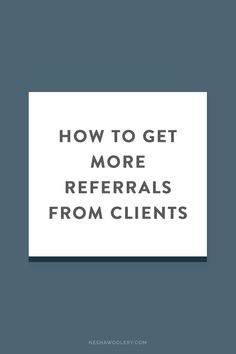 I'm guessing that one of the most important parts of your business is  getting clients, am I right?  One of the oldest (and most successful!) ways to get clients is through  referrals (aka. someone refers a client to you). But how do you get them  and who do you get them from?! And how can you generatereferrals instead  of just waiting around for them?  Referrals have an unreliable reputation. If you're just waiting around for  them, you're going to find it hard to stay in business my…