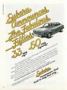 "1978 Subaru FE Coupe Car Ad ""Fablous Fifties"""