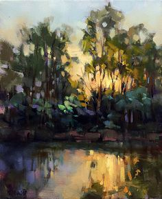 Last Glimmer by Trisha Adams Oil ~ 20 x 16 Cool Landscapes, Landscape Paintings, Impressionist Landscape, Selling Paintings, Modern Impressionism, Contemporary Landscape, Tree Art, Art Oil, Painting Inspiration