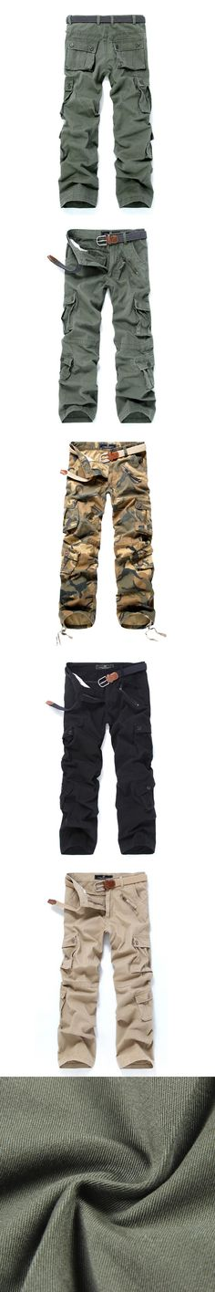 2016 Top Fashion Multi-Pocket Solid Mens Cargo Camouflage Pants High Quality  Men Cotton Military Trousers Size
